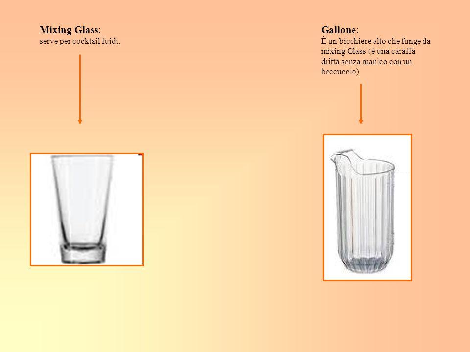 Mixing Glass: serve per cocktail fuidi. Gallone: È un bicchiere alto che funge da mixing Glass (è una caraffa dritta senza manico con un beccuccio)