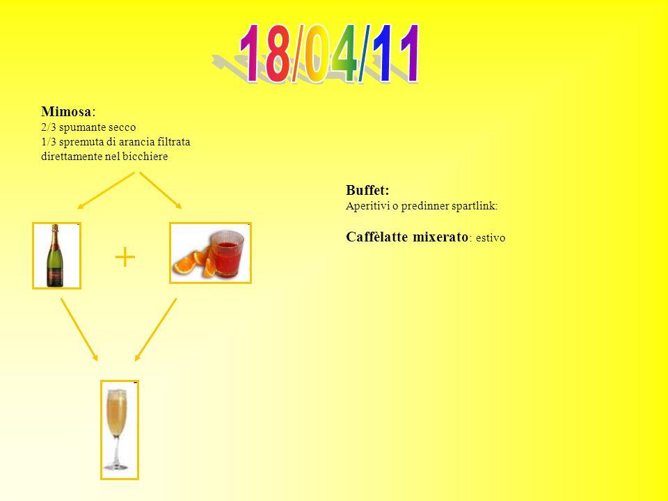 Mimosa: 2/3 spumante secco 1/3 spremuta di arancia filtrata direttamente nel bicchiere + Buffet: Aperitivi o predinner spartlink: Caffèlatte mixerato
