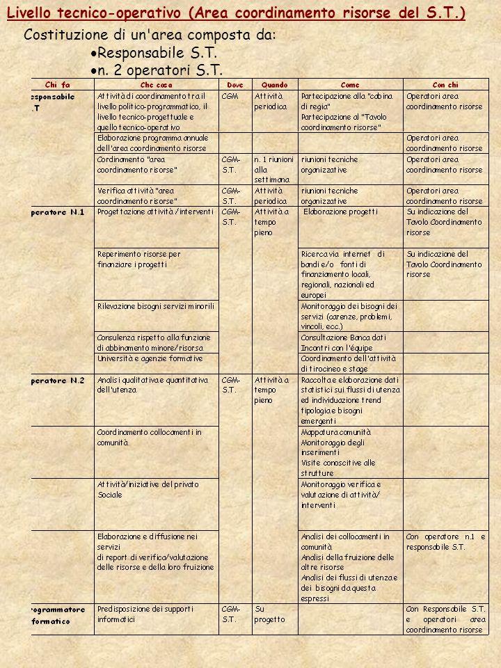 Livello tecnico-operativo (Area coordinamento risorse del S.T.) Costituzione di un area composta da: Responsabile S.T.