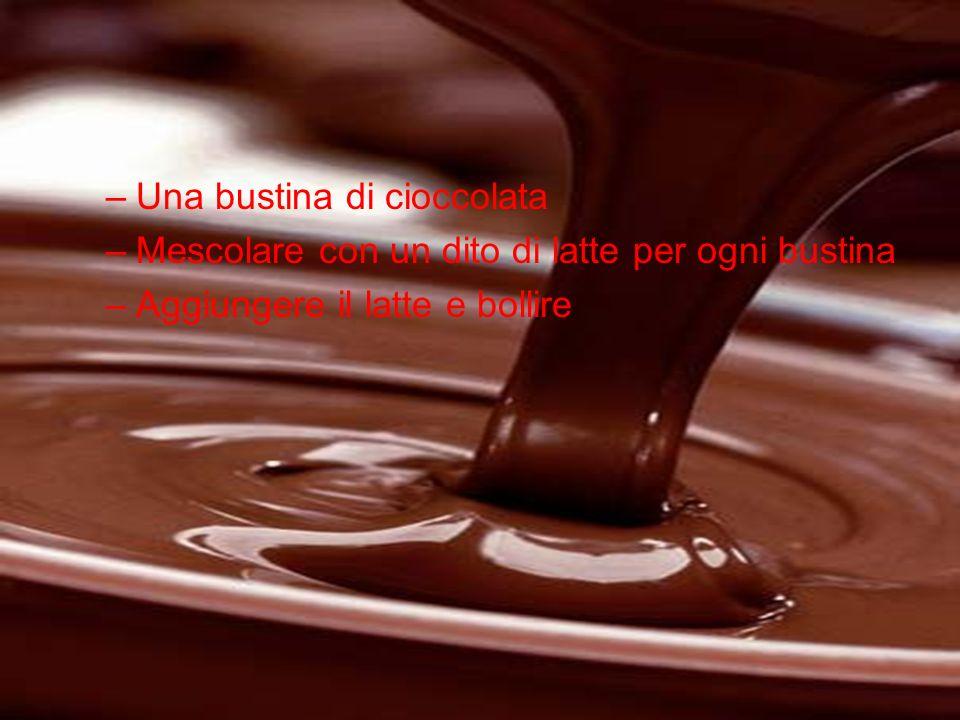 –Una bustina di cioccolata –Mescolare con un dito di latte per ogni bustina –Aggiungere il latte e bollire