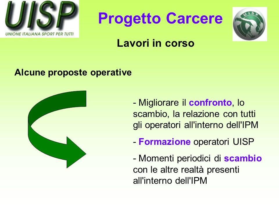 Lavori in corso - Migliorare il confronto, lo scambio, la relazione con tutti gli operatori all'interno dell'IPM - Formazione operatori UISP - Momenti