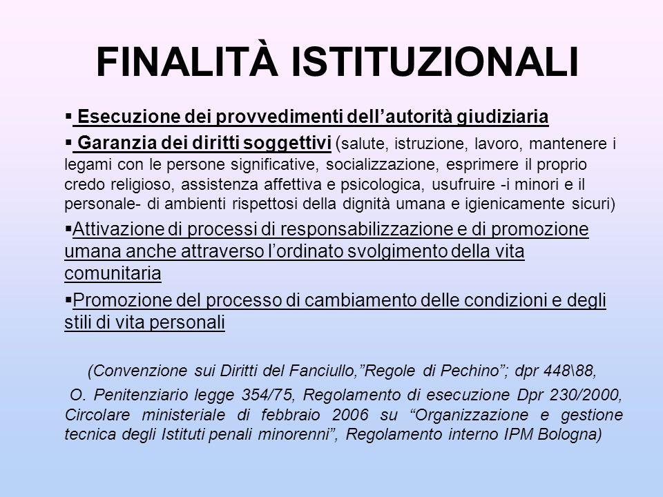 FINALITÀ ISTITUZIONALI Esecuzione dei provvedimenti dellautorità giudiziaria Garanzia dei diritti soggettivi ( salute, istruzione, lavoro, mantenere i