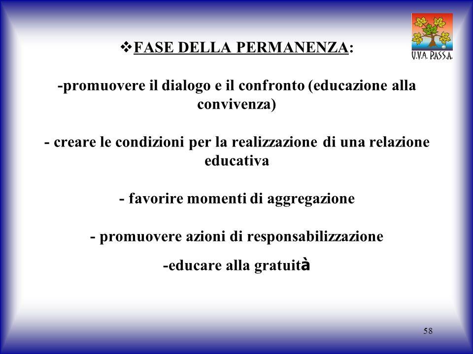 58 FASE DELLA PERMANENZA: -promuovere il dialogo e il confronto (educazione alla convivenza) - creare le condizioni per la realizzazione di una relazi