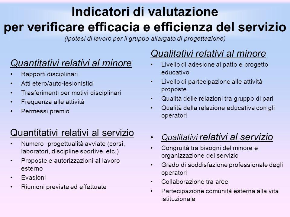 Indicatori di valutazione per verificare efficacia e efficienza del servizio (ipotesi di lavoro per il gruppo allargato di progettazione) Quantitativi