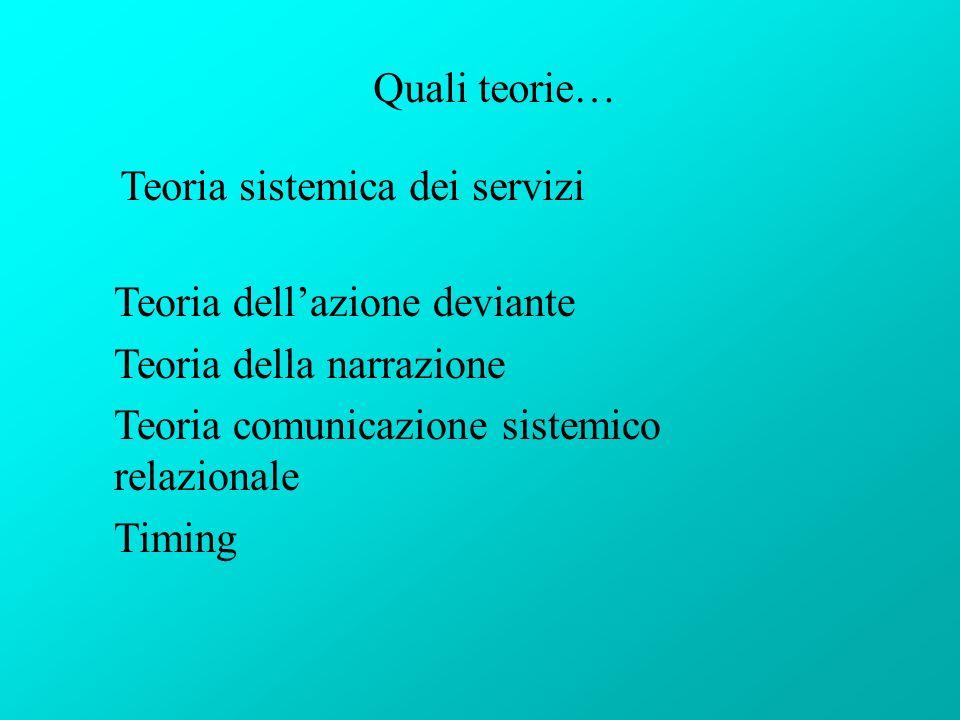Quali teorie… Teoria sistemica dei servizi Teoria dellazione deviante Teoria della narrazione Teoria comunicazione sistemico relazionale Timing