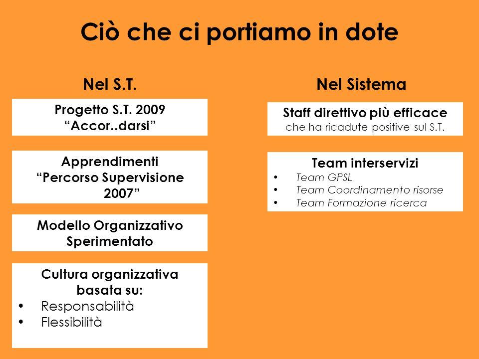 Staff direttivo più efficace che ha ricadute positive sul S.T. Team interservizi Team GPSL Team Coordinamento risorse Team Formazione ricerca Ciò che