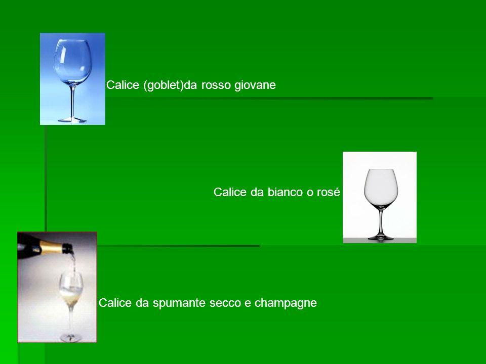 Calice (goblet)da rosso giovane Calice da bianco o rosé Calice da spumante secco e champagne