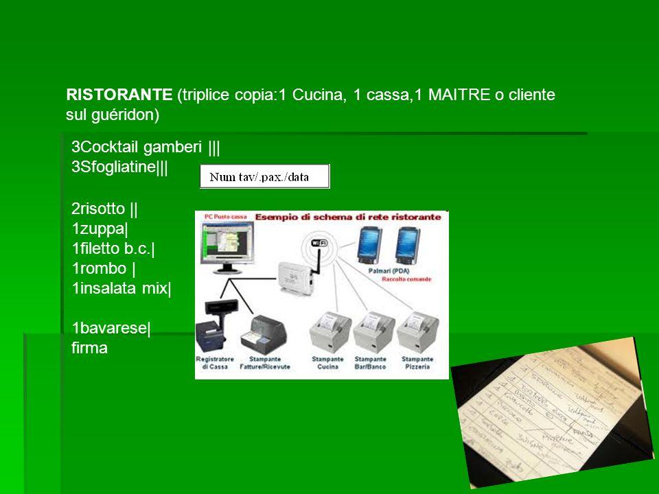 RISTORANTE (triplice copia:1 Cucina, 1 cassa,1 MAITRE o cliente sul guéridon) 3Cocktail gamberi ||| 3Sfogliatine||| 2risotto || 1zuppa| 1filetto b.c.|