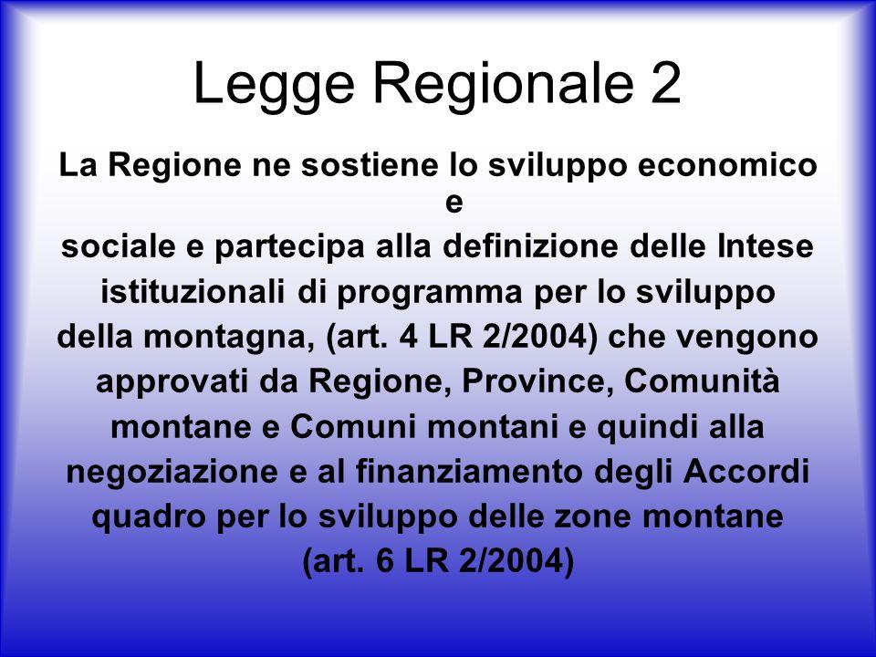 Legge Regionale 2 La Regione ne sostiene lo sviluppo economico e sociale e partecipa alla definizione delle Intese istituzionali di programma per lo sviluppo della montagna, (art.