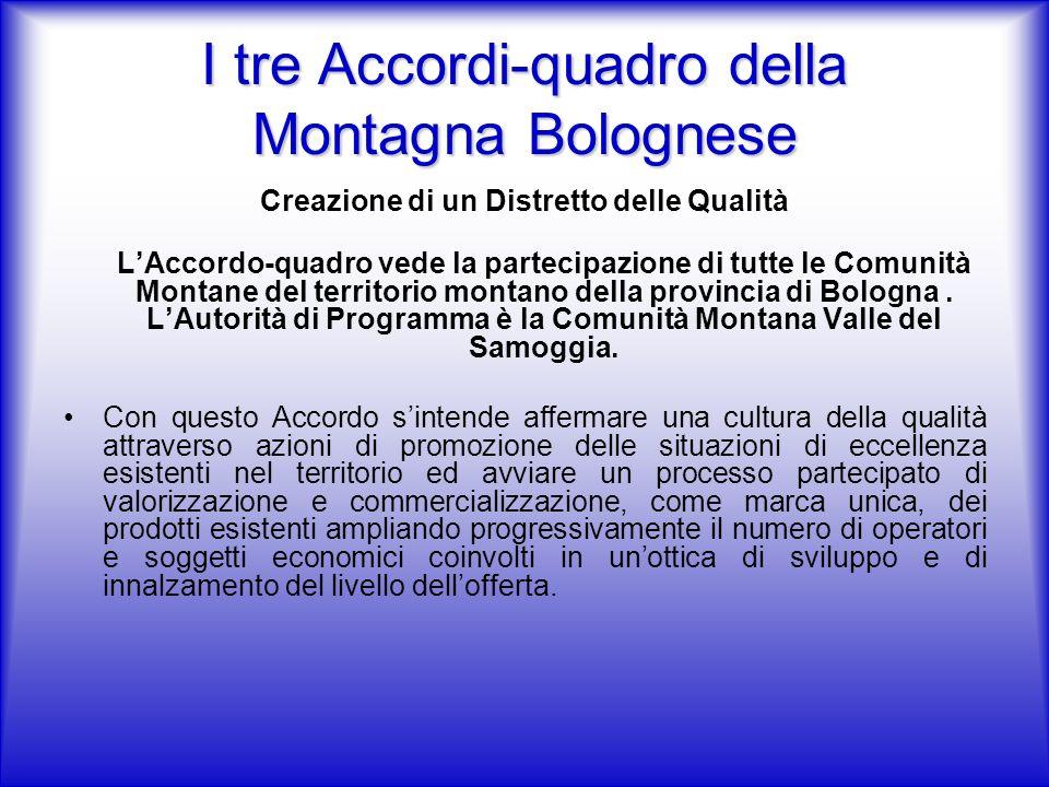 I tre Accordi-quadro della Montagna Bolognese Creazione di un Distretto delle Qualità LAccordo-quadro vede la partecipazione di tutte le Comunità Montane del territorio montano della provincia di Bologna.
