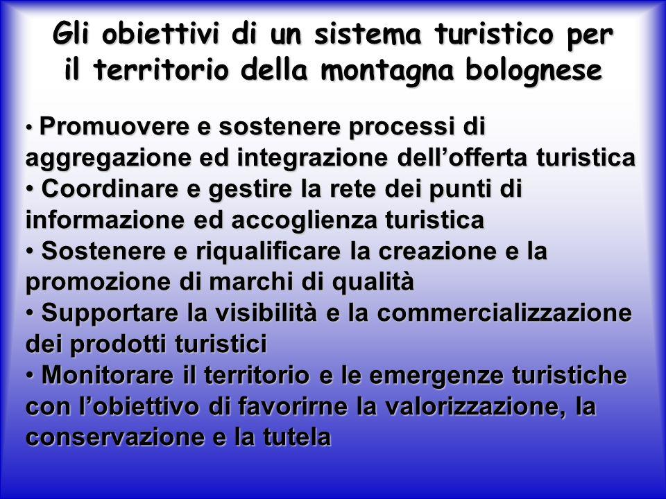 Gli obiettivi di un sistema turistico per il territorio della montagna bolognese Promuovere e sostenere processi di aggregazione ed integrazione dellofferta turistica Promuovere e sostenere processi di aggregazione ed integrazione dellofferta turistica Coordinare e gestire la rete dei punti di informazione ed accoglienza turistica Coordinare e gestire la rete dei punti di informazione ed accoglienza turistica Sostenere e riqualificare la creazione e la promozione di marchi di qualità Sostenere e riqualificare la creazione e la promozione di marchi di qualità Supportare la visibilità e la commercializzazione dei prodotti turistici Supportare la visibilità e la commercializzazione dei prodotti turistici Monitorare il territorio e le emergenze turistiche con lobiettivo di favorirne la valorizzazione, la conservazione e la tutela Monitorare il territorio e le emergenze turistiche con lobiettivo di favorirne la valorizzazione, la conservazione e la tutela