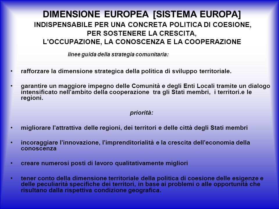 DIMENSIONE EUROPEA [SISTEMA EUROPA] INDISPENSABILE PER UNA CONCRETA POLITICA DI COESIONE, PER SOSTENERE LA CRESCITA, L OCCUPAZIONE, LA CONOSCENZA E LA COOPERAZIONE rafforzare la dimensione strategica della politica di sviluppo territoriale.