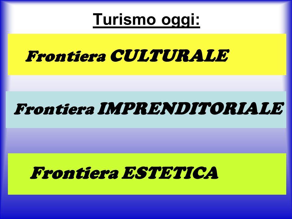 Turismo oggi: Frontiera CULTURALE Frontiera IMPRENDITORIALE Frontiera ESTETICA