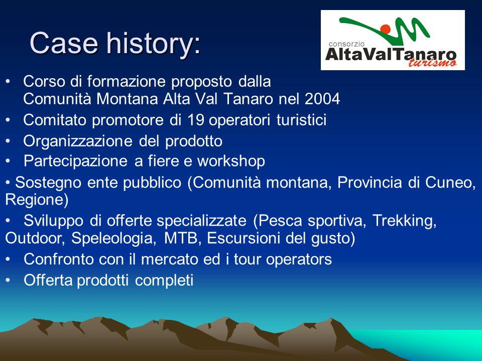 Case history: Corso di formazione proposto dalla Comunità Montana Alta Val Tanaro nel 2004 Comitato promotore di 19 operatori turistici Organizzazione