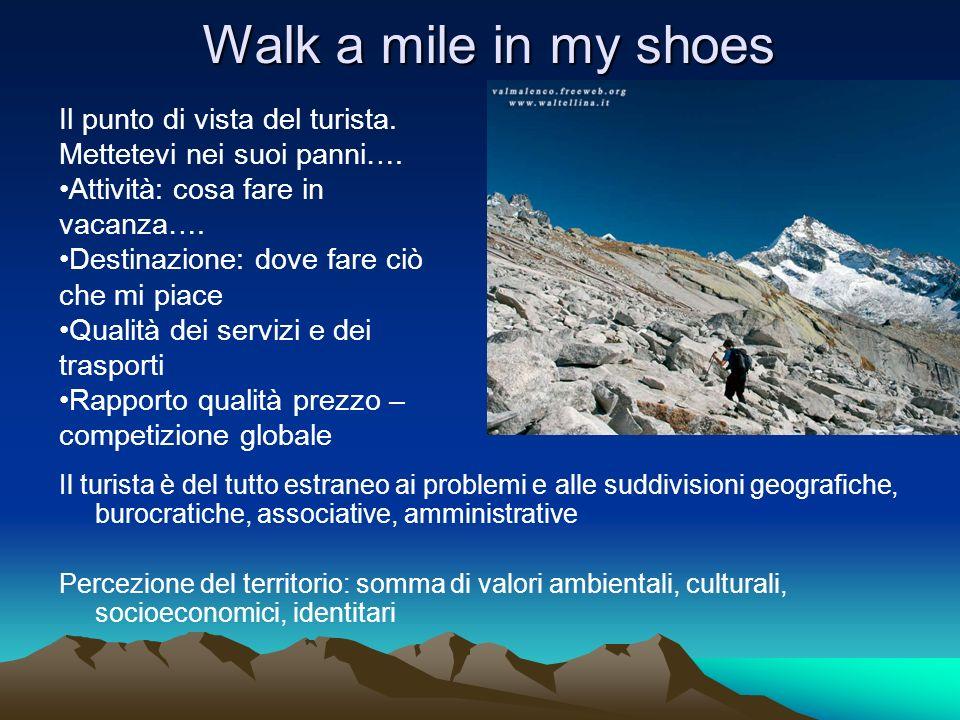 Walk a mile in my shoes Il turista è del tutto estraneo ai problemi e alle suddivisioni geografiche, burocratiche, associative, amministrative Percezi