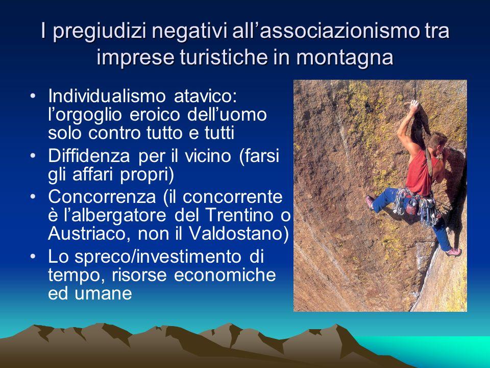 I pregiudizi negativi allassociazionismo tra imprese turistiche in montagna Individualismo atavico: lorgoglio eroico delluomo solo contro tutto e tutt