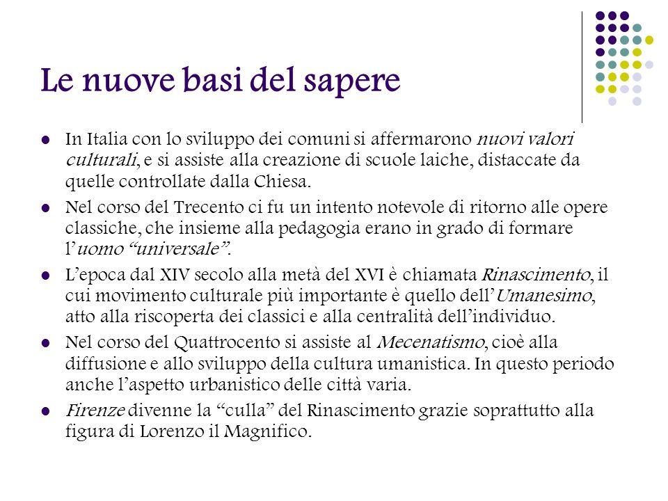 Le nuove basi del sapere In Italia con lo sviluppo dei comuni si affermarono nuovi valori culturali, e si assiste alla creazione di scuole laiche, dis