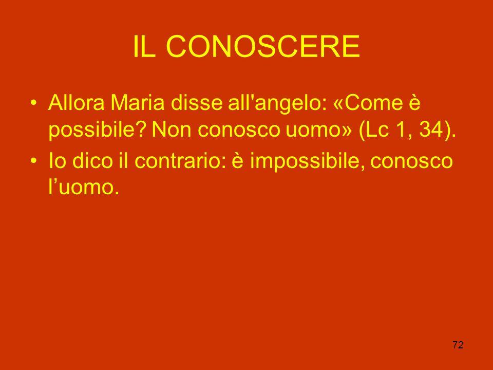 72 IL CONOSCERE Allora Maria disse all'angelo: «Come è possibile? Non conosco uomo» (Lc 1, 34). Io dico il contrario: è impossibile, conosco luomo.
