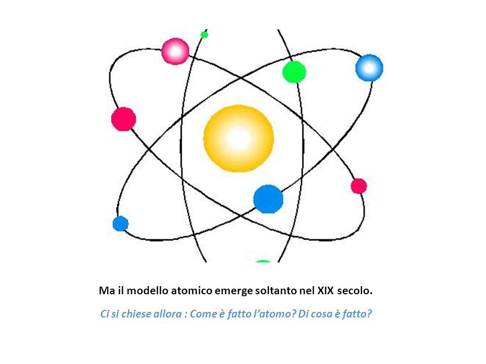 Ma il modello atomico emerge soltanto nel XIX secolo. Ci si chiese allora : Come è fatto latomo? Di cosa è fatto?