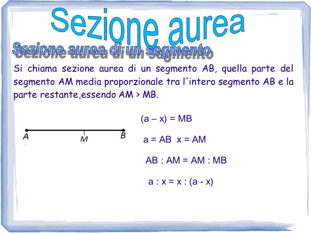 Si chiama sezione aurea di un segmento AB, quella parte del segmento AM media proporzionale tra l'intero segmento AB e la parte restante,essendo AM >