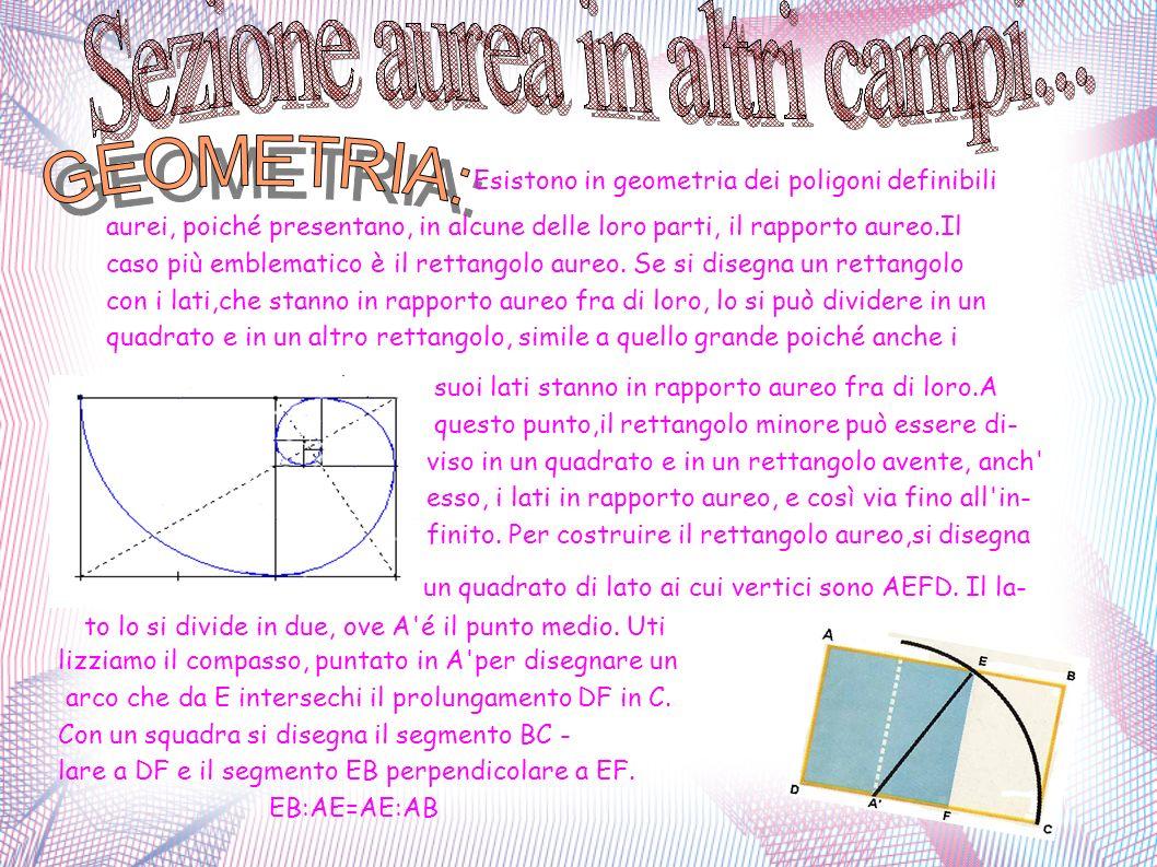 . Esistono in geometria dei poligoni definibili aurei, poiché presentano, in alcune delle loro parti, il rapporto aureo.Il caso più emblematico è il r