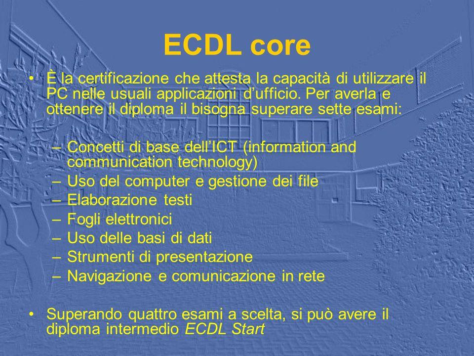 ECDL core È la certificazione che attesta la capacità di utilizzare il PC nelle usuali applicazioni dufficio. Per averla e ottenere il diploma il biso