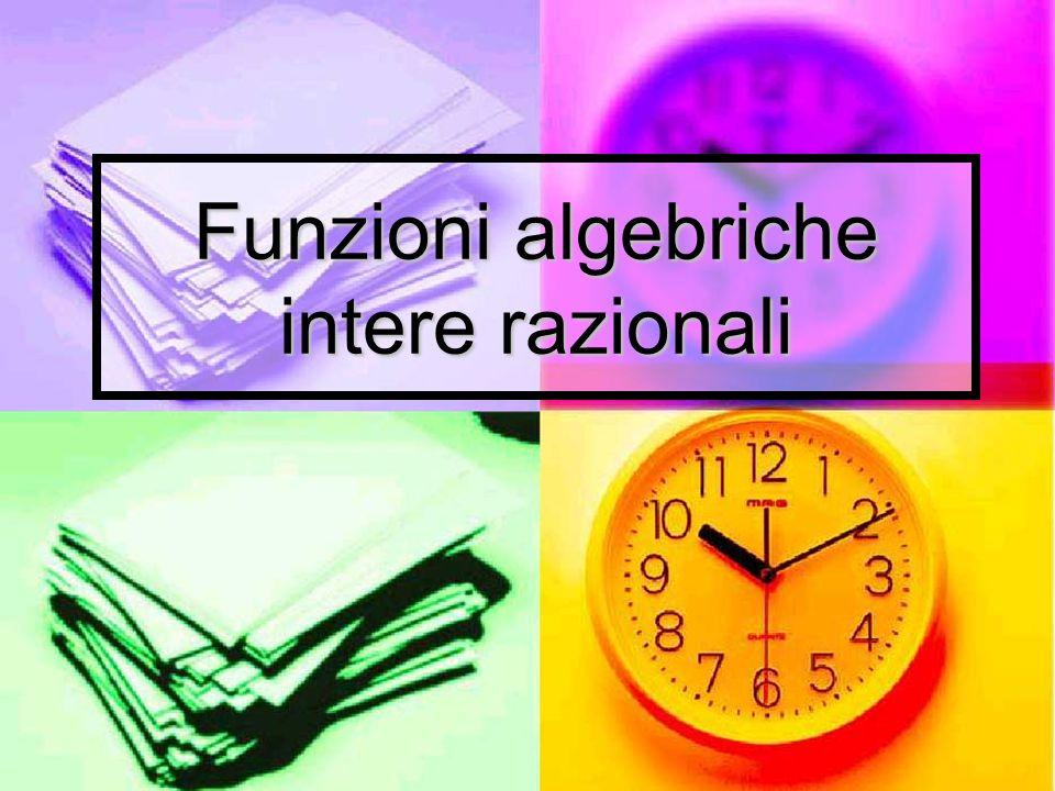 … cioè la funzione polinomiale È continua e derivabile in tutto R È continua e derivabile in tutto R Non ha asintoti Non ha asintoti