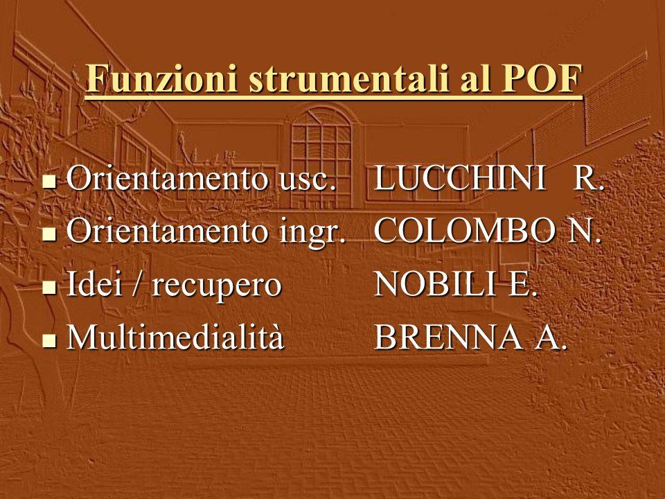 Funzioni strumentali al POF Orientamento usc.LUCCHINIR.