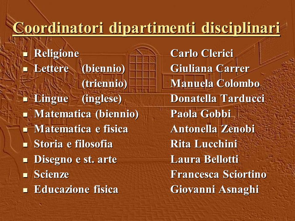 Coordinatori dipartimenti disciplinari ReligioneCarlo Clerici ReligioneCarlo Clerici Lettere (biennio) Giuliana Carrer Lettere (biennio) Giuliana Carr