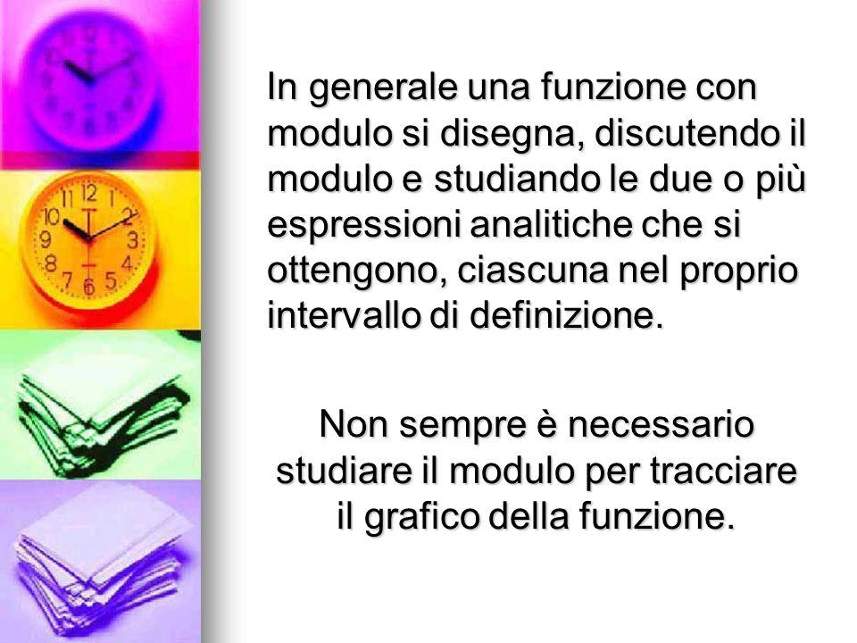 In generale una funzione con modulo si disegna, discutendo il modulo e studiando le due o più espressioni analitiche che si ottengono, ciascuna nel pr