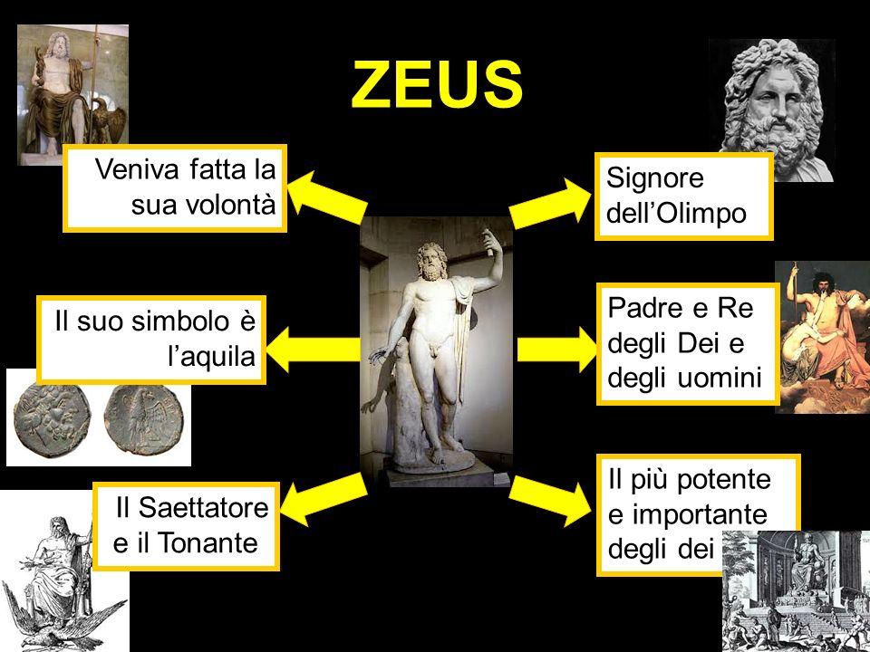 ZEUS Il suo simbolo è laquila Il Saettatore e il Tonante Veniva fatta la sua volontà Padre e Re degli Dei e degli uomini Signore dellOlimpo Il più pot