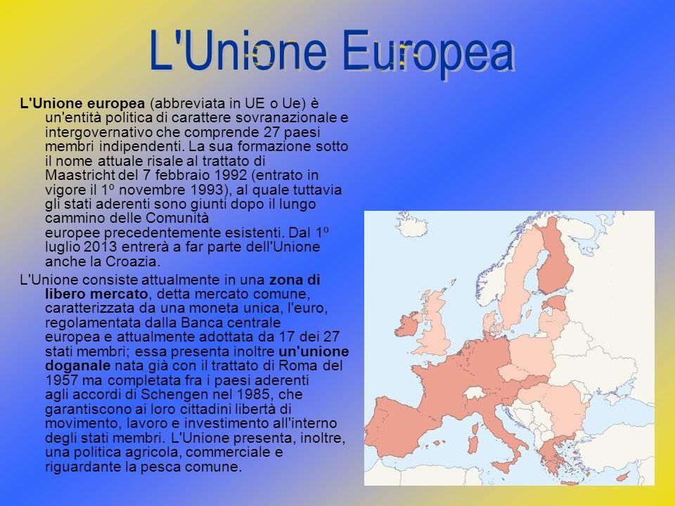 L'Unione europea (abbreviata in UE o Ue) è un'entità politica di carattere sovranazionale e intergovernativo che comprende 27 paesi membri indipendent