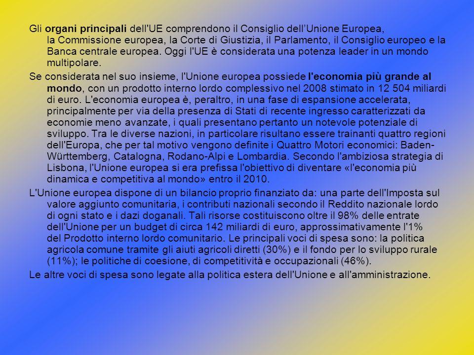 Gli organi principali dell'UE comprendono il Consiglio dellUnione Europea, la Commissione europea, la Corte di Giustizia, il Parlamento, il Consiglio