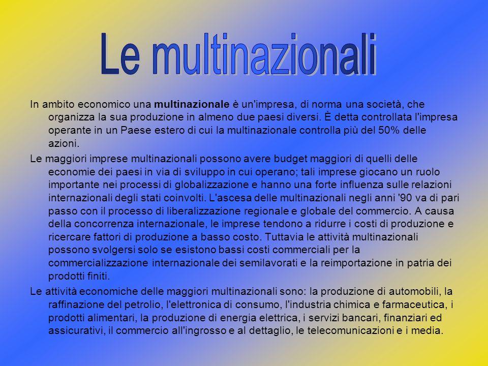 In ambito economico una multinazionale è un'impresa, di norma una società, che organizza la sua produzione in almeno due paesi diversi. È detta contro