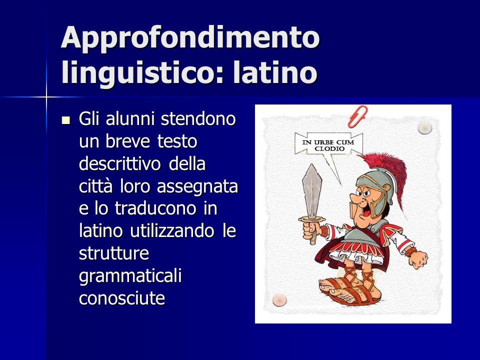 Approfondimento linguistico: latino Gli alunni stendono un breve testo descrittivo della città loro assegnata e lo traducono in latino utilizzando le