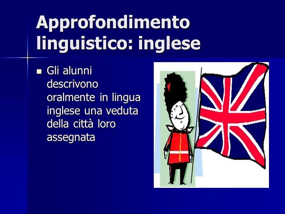 Approfondimento linguistico: inglese Gli alunni descrivono oralmente in lingua inglese una veduta della città loro assegnata Gli alunni descrivono ora