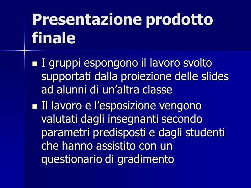 Presentazione prodotto finale I gruppi espongono il lavoro svolto supportati dalla proiezione delle slides ad alunni di unaltra classe I gruppi espong