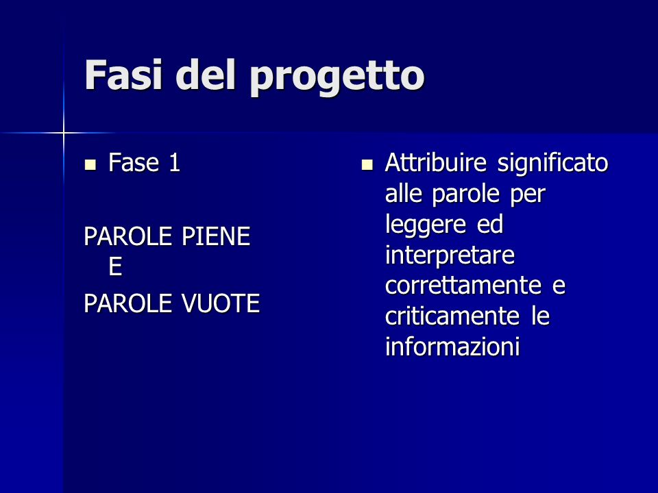 Fasi del progetto Fase 1 Fase 1 PAROLE PIENE E PAROLE VUOTE Attribuire significato alle parole per leggere ed interpretare correttamente e criticament