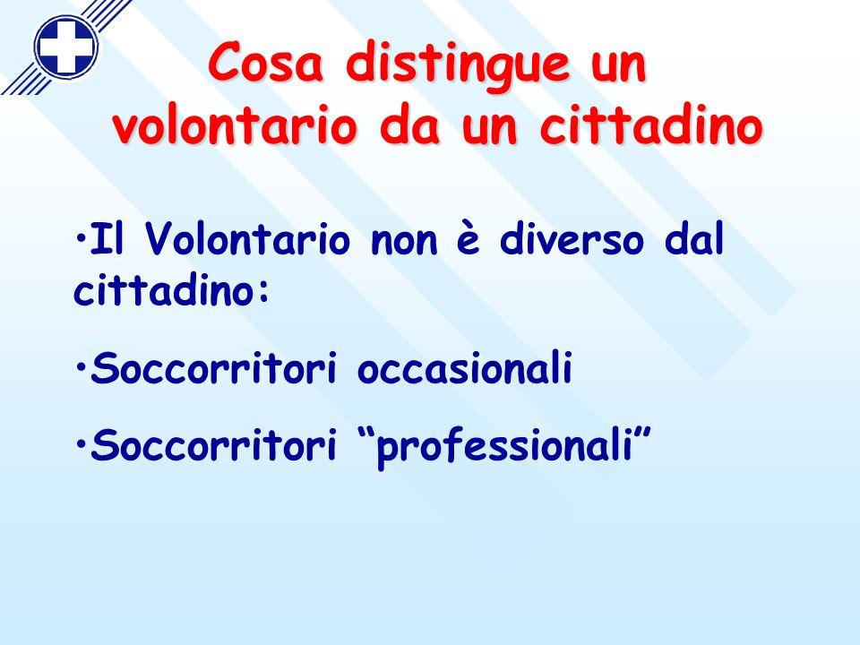 Il Volontario non è diverso dal cittadino: Soccorritori occasionali Soccorritori professionali Cosa distingue un volontario da un cittadino volontario