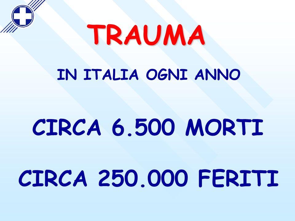 IN ITALIA OGNI ANNO CIRCA 6.500 MORTI TRAUMA CIRCA 250.000 FERITI