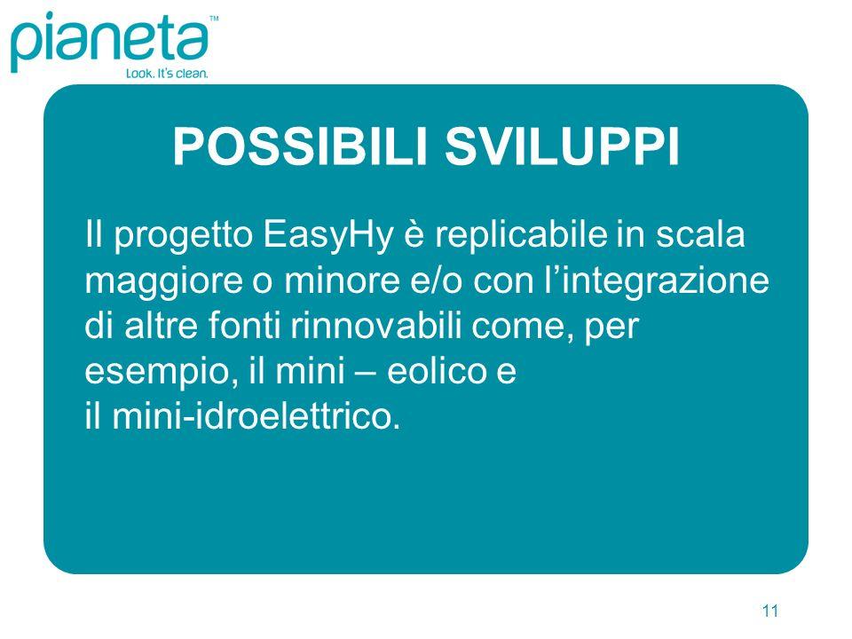 11 POSSIBILI SVILUPPI Il progetto EasyHy è replicabile in scala maggiore o minore e/o con lintegrazione di altre fonti rinnovabili come, per esempio, il mini – eolico e il mini-idroelettrico.