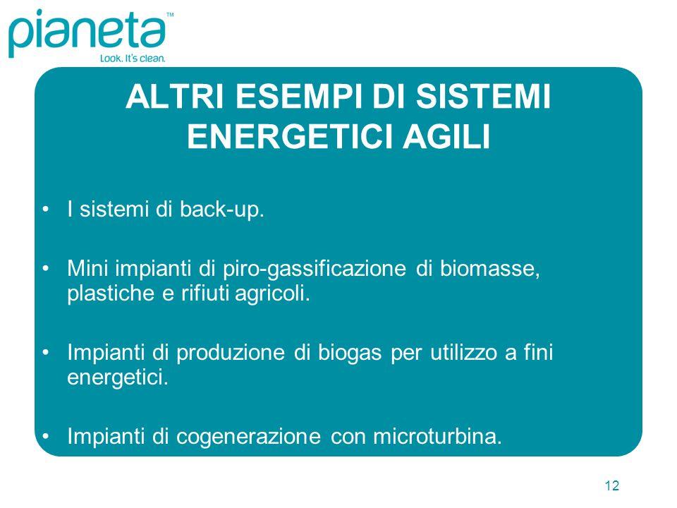 12 ALTRI ESEMPI DI SISTEMI ENERGETICI AGILI I sistemi di back-up. Mini impianti di piro-gassificazione di biomasse, plastiche e rifiuti agricoli. Impi