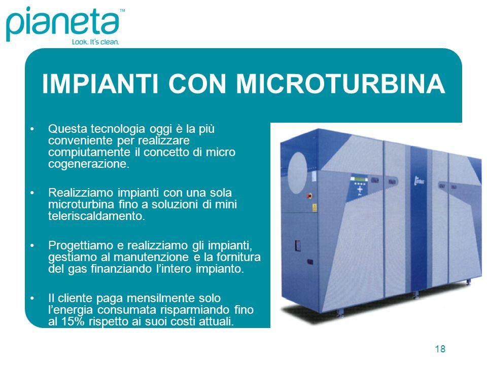 18 IMPIANTI CON MICROTURBINA Questa tecnologia oggi è la più conveniente per realizzare compiutamente il concetto di micro cogenerazione.