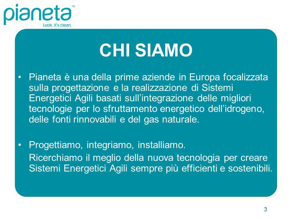 3 CHI SIAMO Pianeta è una della prime aziende in Europa focalizzata sulla progettazione e la realizzazione di Sistemi Energetici Agili basati sullintegrazione delle migliori tecnologie per lo sfruttamento energetico dellidrogeno, delle fonti rinnovabili e del gas naturale.