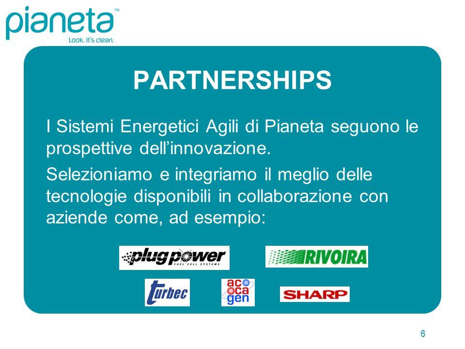 6 PARTNERSHIPS I Sistemi Energetici Agili di Pianeta seguono le prospettive dellinnovazione.