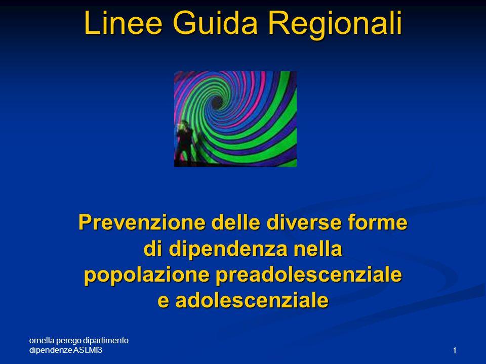 ornella perego dipartimento dipendenze ASLMI3 1 Linee Guida Regionali Linee Guida Regionali Prevenzione delle diverse forme di dipendenza nella popola