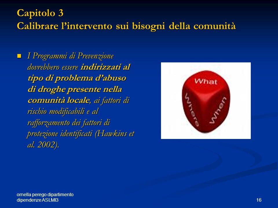 ornella perego dipartimento dipendenze ASLMI3 16 Capitolo 3 Calibrare lintervento sui bisogni della comunità I Programmi di Prevenzione dovrebbero ess