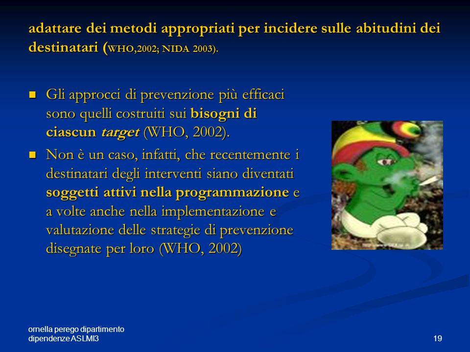 ornella perego dipartimento dipendenze ASLMI3 19 adattare dei metodi appropriati per incidere sulle abitudini dei destinatari ( WHO,2002; NIDA 2003).