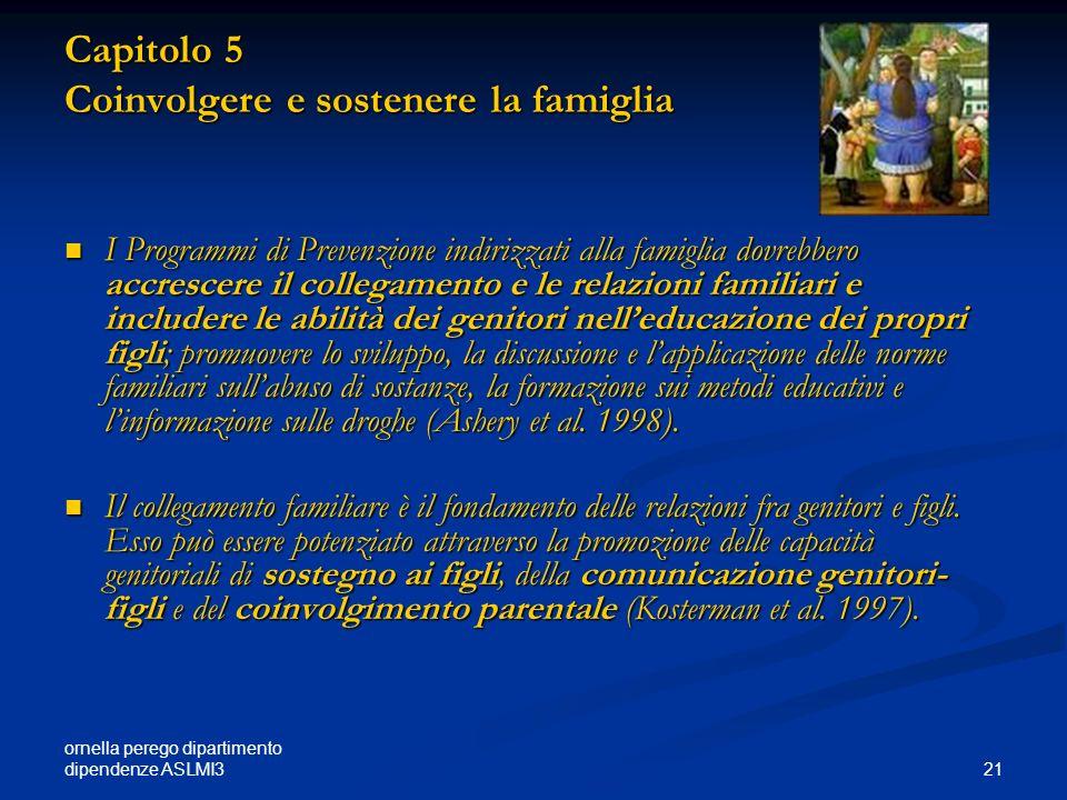 ornella perego dipartimento dipendenze ASLMI3 21 Capitolo 5 Coinvolgere e sostenere la famiglia I Programmi di Prevenzione indirizzati alla famiglia d