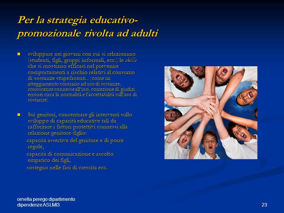 ornella perego dipartimento dipendenze ASLMI3 23 Per la strategia educativo- promozionale rivolta ad adulti sviluppare nei giovani con cui si relazion